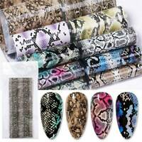 10Pcs Colorful Serpentine Nail Foil Sticker Transfer Decals Mixed Manicure DIY @