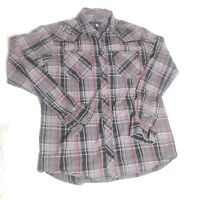 Affliction Men's Plaid Long Sleeve Cowboy Western Shirt Spell Out Size Medium