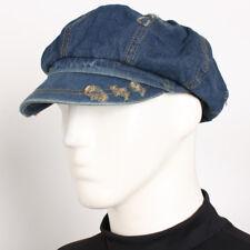SK Blue Vintage Denim Applejack Hat New 8 Panel Jean Unisex Newsboy Driving Cap
