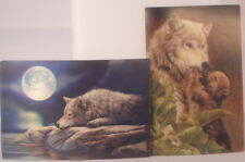 Wolf with cub and wolf with moon two postcards together 15cm x 10cm