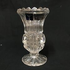 "Crystal Clear Industries Bud Vase 24% Lead Crystal Yugoslavia With Sticker 4.25"""
