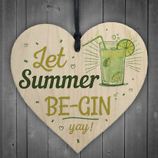 Let Summer Beg-in Summer House Heart Wood Plaques Garden Alcohol Gin Sign Gifts