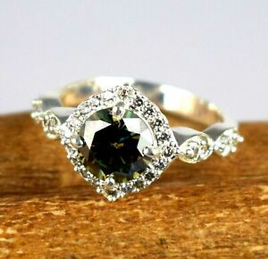 Green Diamond Solitaire 4.22 Ct Round Silver Ring With Accents