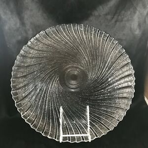 """Vintage Clear Glass Cake Plate 13"""" Scalloped Edge Spiral Swirl"""