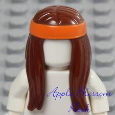 NEW Lego Minifig Long Straight BROWN HAIR - Girl Female Head Gear w/Orange Band