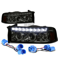FOR 94-02 DODGE RAM/SPORT SMOKE DUAL HALO PROJECTOR+LED DRL 1P HEADLIGHT+TURNING