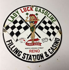 New ListingVintage 1961 Luck Lady Gasolineporcelain Gas Oil Sign Gas Station Pin Up