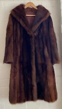 Striped Dark Black VINTAGE MID CENTURY LADIES FUR LONG JACKET COAT Stunning