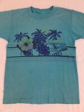 Vintage 1980s Op Surf Tee Ocean Pacific Kids 14 Aqua Palm Tree XS Stripes Skate