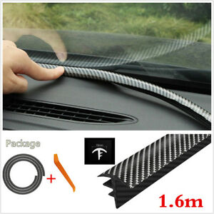 1.6m Carbon Fiber Car Seal Strip Dashboard Windshield Gap Noise Insulation Strip