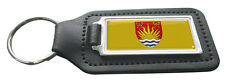 Suffolk County Flag Rectangle Black Leather Keyring