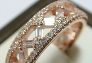925 Sterling Silver Simulated Diamond Eternity Wedding Band Ring Sz 6 Rose Gold