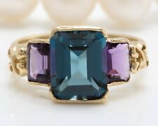 6.40 Carat Natural London Blue Topaz & Amethyst in 14K Yellow Gold Women Ring