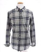 J Crew Mens 2 Ply Cotton Button Down Up Shirt Tartan Plaid Blue Sz XL 17-17.5