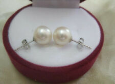 Stunning AAA+ 8-9mm Real natural AKOYA White round pearl stud earrings 14K Gold