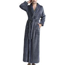 Womens Mens Bathrobe Long Fleece Dressing Gown Luxury Winter Housecoat Robe CoJC