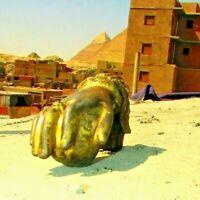 Vintage Egyptian cast Iron Hand Door Knocker Bell Rare hand Iron, 19th. #3