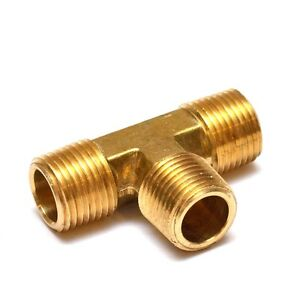 1/2 Npt Male Tee T 3 Way Equal Pipe Brass Fitting Fuel Vacuum Air Water Oil Gas