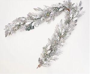 Martha Stewart 5' Pre-Lit Silver METALLIC GARLAND w/ Clear Lights NEW H219328