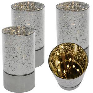 Set 4 Silver Mercury Glass Accent Lamps Lanterns Centerpiece Copper Fairy Lights
