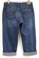 Levi's Women's Blue Jean Denim Capris Size 6 Medium Wash Cuffed Cotton Stretch