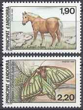ANDORRE FRANÇAIS N°361/362 PROTECTION NATURE CHEVAL PAPILLON NEUF ** LUXE MNH
