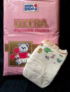 Vintage Stop & Shop Ultra Diapers for Girls Sz Infant 2 from1978 (reborn)