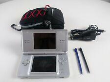 Nintendo DS Lite Silver w/ 2 Stylus & Car Adapter & Case