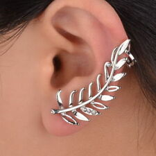 Popular 1PC Crystal Silver Plated Left Leaf Ear Wrap Stud Clip Cuff Earring