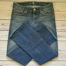 WOMENS 7 SEVEN FOR ALL MANKIND sz 26 A POCKET FLARE Faded DENIM BLUE JEANS