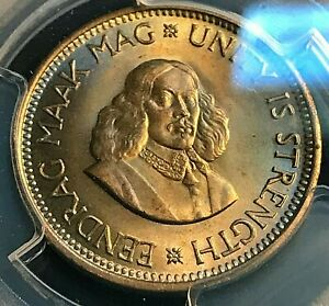 1964 S. Africa 1/2 Cent PCGS MS65 Gold-Toned Beauty, Scratch-Free Holder CHN