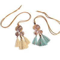 Bohemian Beaded Long Tassel Pendant Necklace Sweater Chain Jewelry Women HF