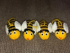 HAND KNITTED 4 X BEES STUFFED SOFT TOY DECORATIONS DISPLAY