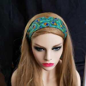 Peacock Eye Feather Wired Bandana Headband Hair Band Retro Scarf Bendy Twist