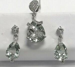 Estate 9 kt Pendant And Earring Set Prasiolite And Diamond Scotland Hallmark