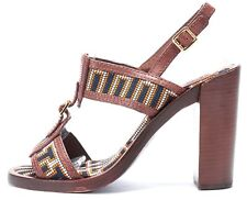 TORY BURCH Brown Abstract Leather Open Toe Heels Size 7