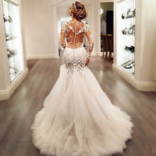2018 Mermaid White Ivory Lace Wedding Dress Bridal Ball Gown Custom size-4--18