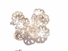 1086BB Bead Cap, Silver ptd Copper, 11mm for 10 to 12mm bead, Flower, 20 Qty