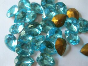 24 Vtg. West German Pearshape rhinestones in 16x12mm Aquamarine/foiled. ttc