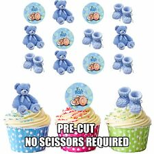 PRECUT Blue Baby Boy Edible Cupcake Toppers Baby Shower Christening Pack of 12