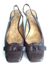Nine West Brown Leather Slingback Kitten Heel Pumps Bow Embellishment Size 9 M