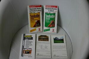 "5 x alte  Holzschutz - Farbtonkarten  "" Sadolin - Bondex  Livos """