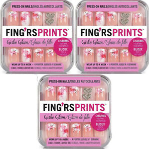 3-Pack NEW Fing'rs Prints Press-On Nails 24 Count 01032 Blooming Beauty (Sealed)
