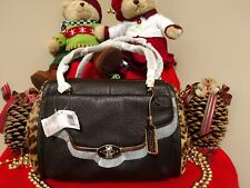 NWT Coach Madison Haircalf Brown Leather E/W Madeline Satchel Shoulder Bag 25255