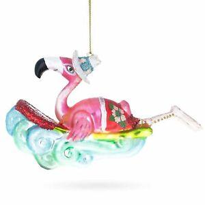 Pink Flamingo Surfing Glass Christmas Ornament