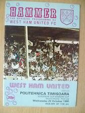 1980 Taza de ganador de la Copa Europea 2nd RD 1st Leg-West Ham Utd V equipo Politehnica Timisoara