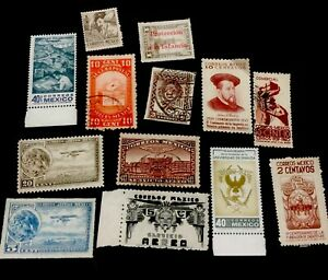 1940s vintage Mexico Stamps. Mixed