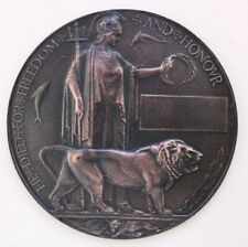 More details for miniature bronze world war 1 memorial/death plaque  'dead man's penny' ww1 80mm