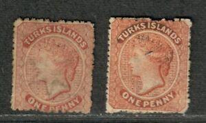 Turks Islands Sc#4-5 M/A-F, No Gum, Cv. $120