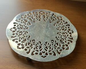 Vtg Pierced Filigree Elegant Silver Plated Footed Trivet - Made in West Germany